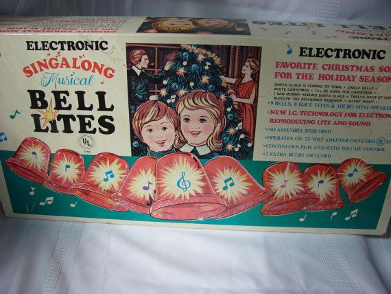 Near Perfect Box Of Vintage Musical Christmas Bells With Lights Plays Eight  Different Christmas Songs