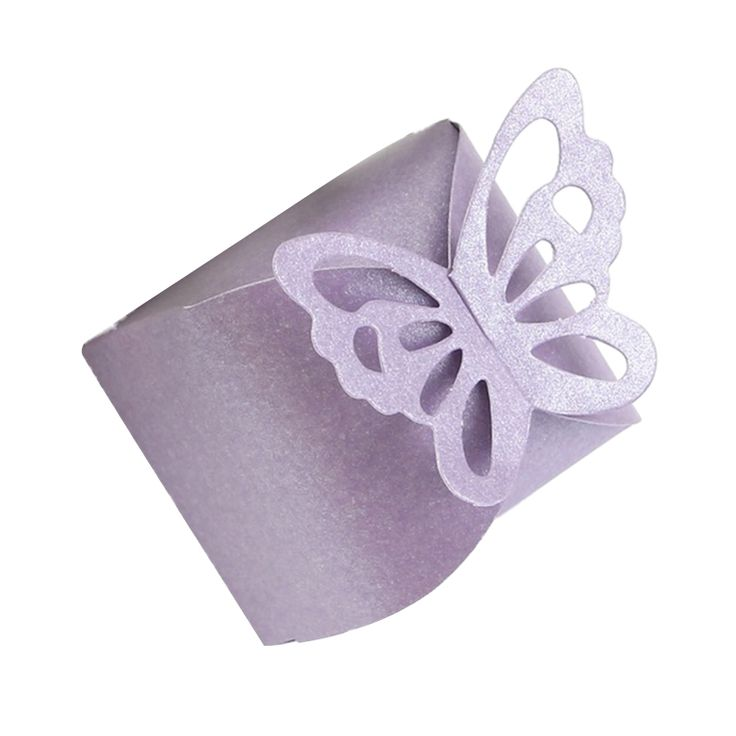 50 Pcs Butterfly Favor Gift Candy Boxes Cake Style for Wedding Party Purple