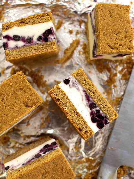 Wild Blueberry Cheesecake Ice Cream Sandwiches Picture