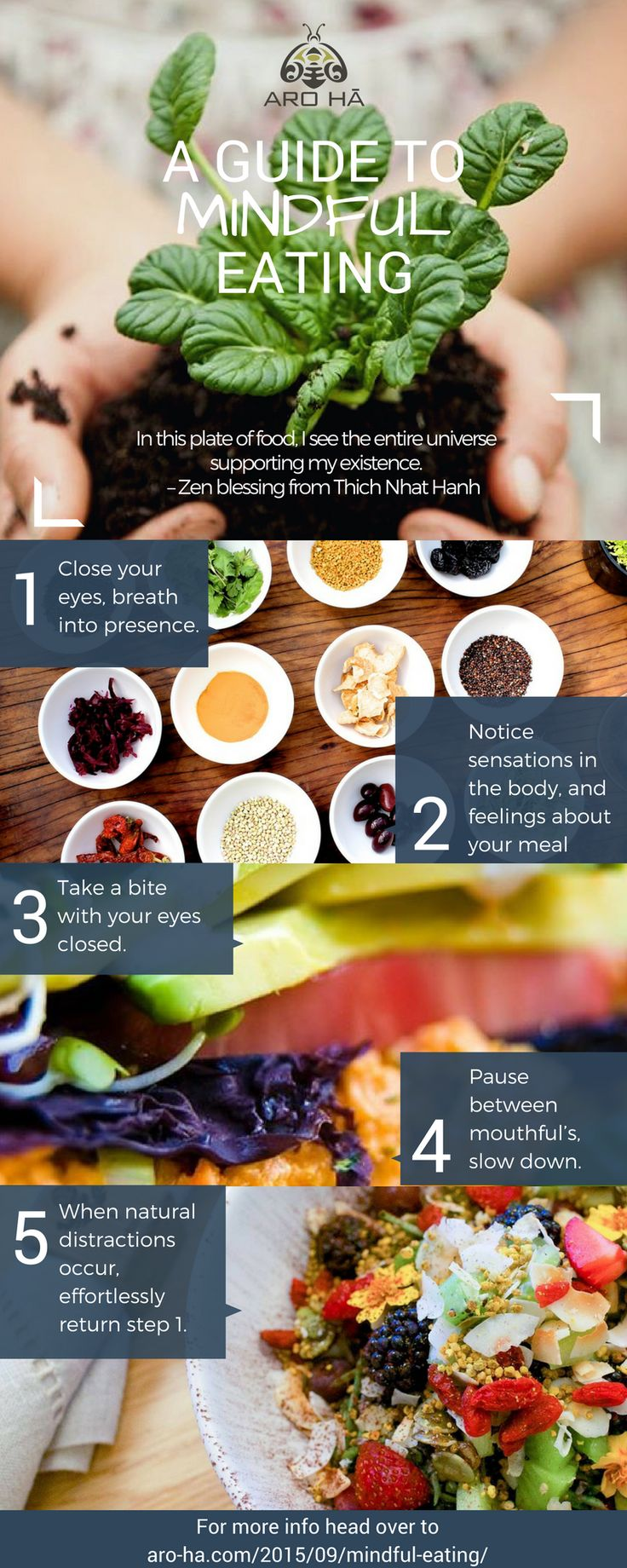 Next time you sit down to a meal, or a snack, try this practice.   Though the goal is not perfect uninterrupted attention through your meals, you'll find an enjoyable shift when you choose to have micro-mindful moments during your meals.  Whether listening to a friend, or enjoying a smell, you always have a choice to be present.