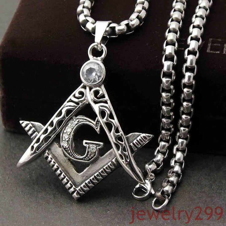 Mens Brand Silver Vintage Stainless Steel Masonic Pendant Necklace Box Chain