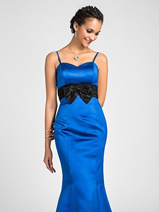 sweep vestido de dama de honra de trem escova de cetim trompete vestido sereia namorada | LightInTheBox