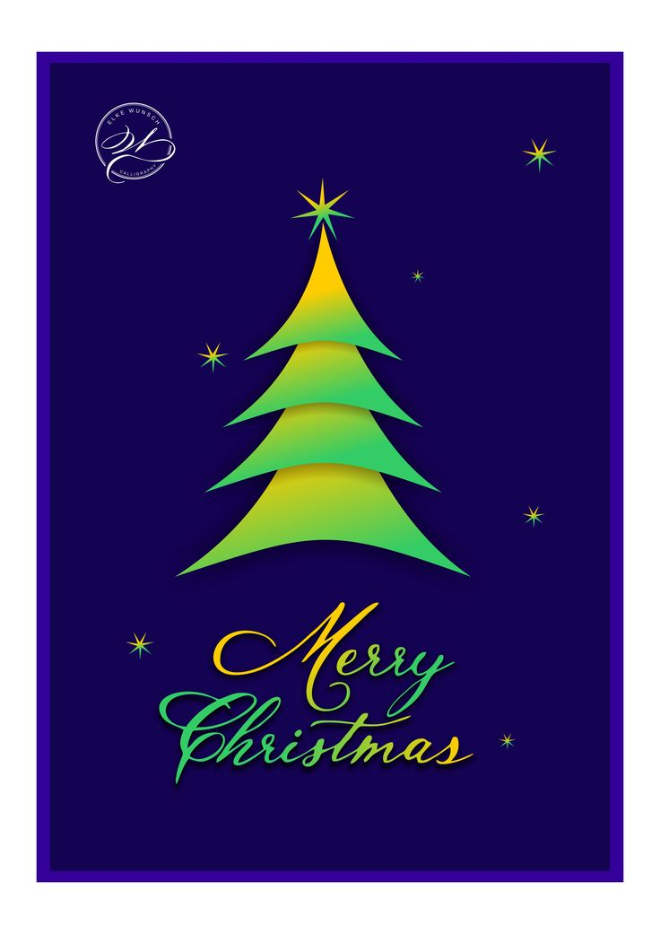 """Christmas greeting cards """"Merry Christmas"""" / Weihnachtskarten Design mit Kalligrafischem Schriftzug"""
