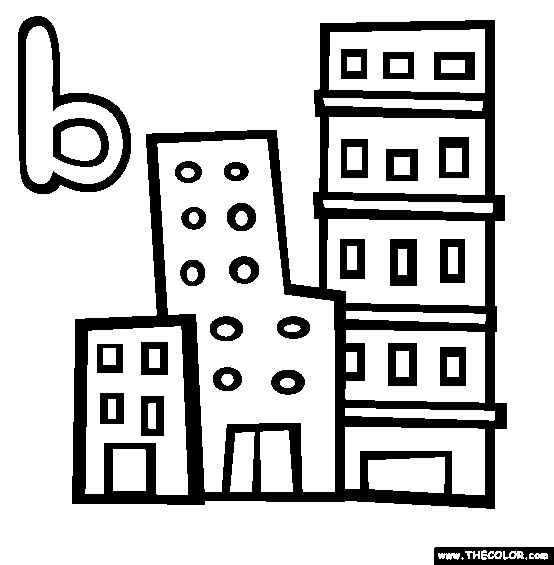 The Letter B Online Alphabet Coloring Page