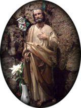 Statue of Saint Joseph in the Lourdes Grotto, Saint Mary Oratory, Rockford, Illinois.