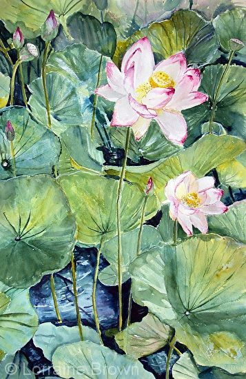 Amongst the Green by Lorraine Brown Watercolour ~ 57cm x 38cm