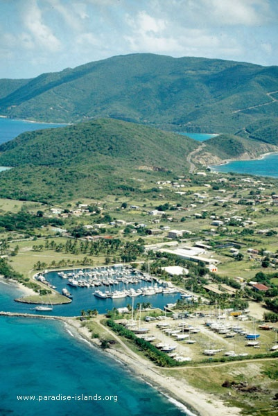 Aerial photo of Spanish Town and Virgin Gorda Yacht Harbour