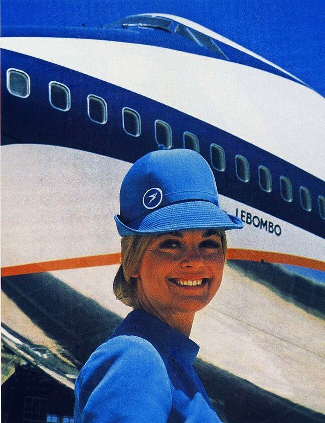 "South African Airways Boeing 747-244B ZS-SAN ""Lebombo"" and a friendly flight attendant in a promotional image from around the time of its delivery in 1971. ""Lebombo"" served South African for over thirty-two years before being retired as a museum exhibit in early 2004. (Image: South African Airways)"
