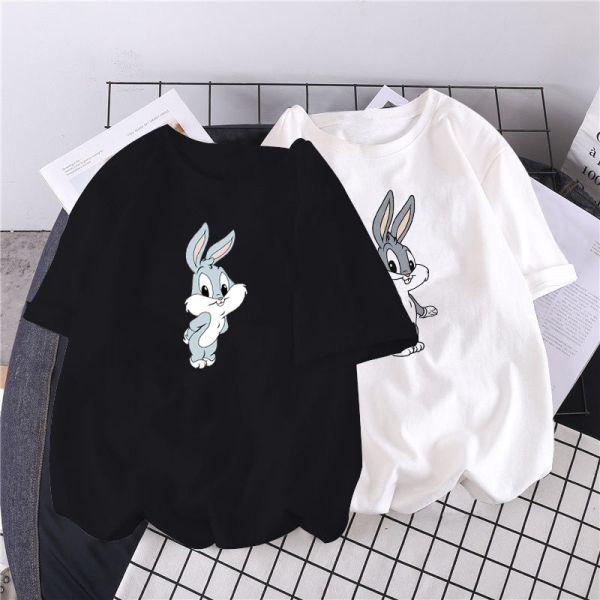 Try 25 83 خصم 11 2020 الصيف طباعة الكرتون الأرنب لطيف قميص المرأة س الرقبة قصيرة الأكمام 8 ألوان أبيض أسود Kawa Kawaii Shirts T Shirt Top T Shirts For Women