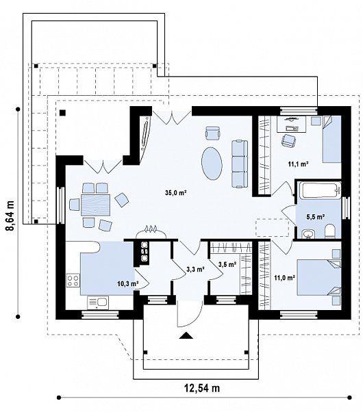 Проект компактного одноэтажного дома, экономичного как в строительстве, так и в эксплуатации - Z136