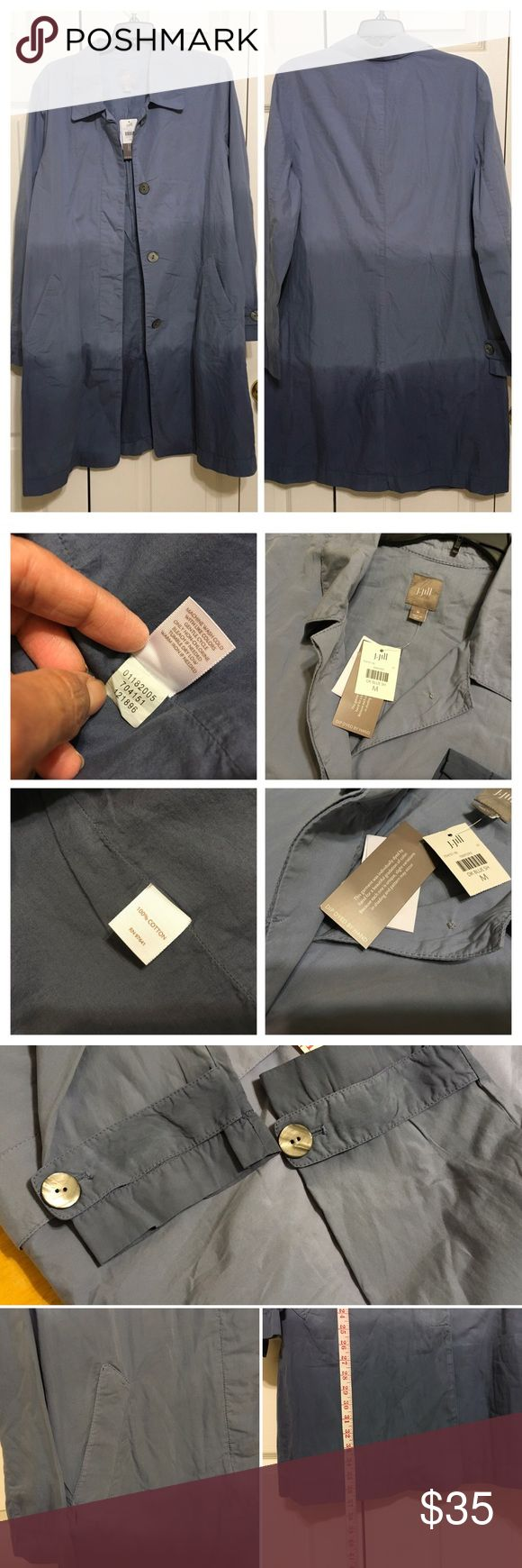 JJill M ombre Blue Cotton lined Trench jacket coat NWT J Jill women SZ M ombré Blue Cotton Blend lined Trench Coat topper jacket. Smoke pet free. J. Jill Jackets & Coats Trench Coats