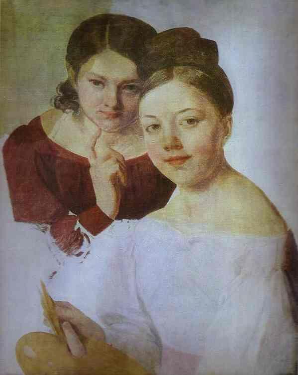 Portrait of Artist's Daughters Alexandra and Felisata,   Alexey Venetsianov
