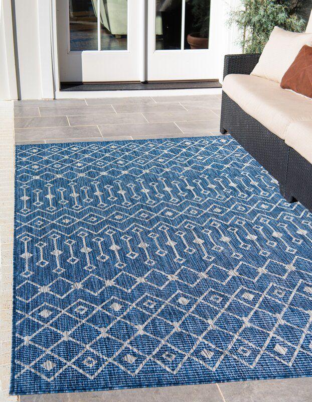 Brylee Southwestern Power Loom Blue Beige Indoor Outdoor Area Rug Outdoor Rugs Patio Outdoor Trellis Blue Outdoor Rug