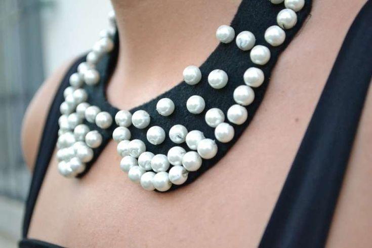 Colletti fai da te con il riciclo - Colletto chic con perle