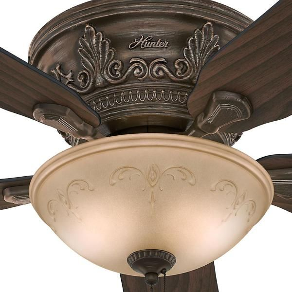 Hunter Viente 52 In Indoor Roman Bronze Flushmount Ceiling Fan With Light Kit 53035 The Home Depot In 2020 Ceiling Fan With Light Ceiling Fan Fan Light