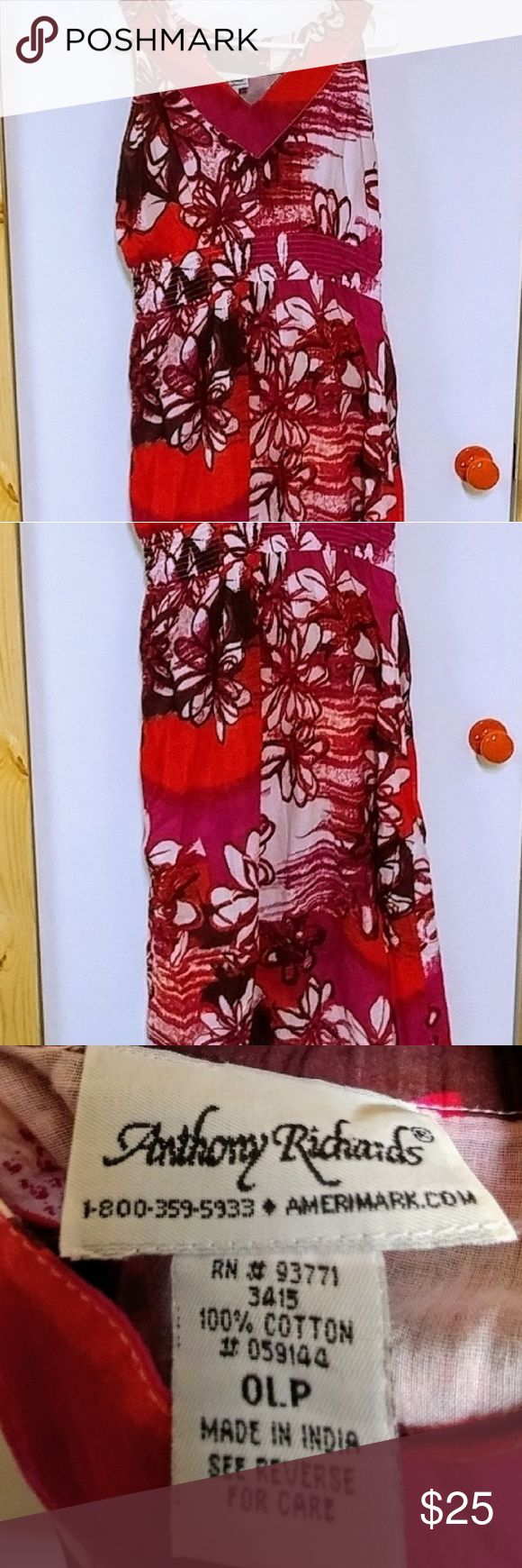 ✂SALE✂Floral Cotton Sundress Cotton Sundress Sz 0LP not sure the meaning of that but I am an xl or 1x and this fit great. Elastic stretchy under bust Soft light gauze cotton with soft light gauze lining.  Very pretty and comfortable. Excellent condition Dresses Midi