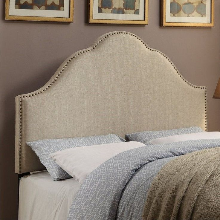 Lowest Price Online On All Pri Glam Fabric Upholstered Nailhead Headboard In Oatmeal Ds
