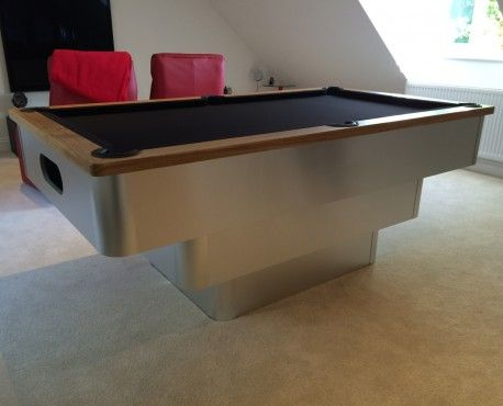 Bespoke 7ft tiered contemporary UK pool table in brushed aluminium with oak cushion and black cloth. Shop here: http://www.snookerandpooltablecompany.com/pool-tables/uk-pool-tables/contemporary-bespoke-uk-pool-tables/tiered-contemporary-uk-pool-table-oak-cushion-rail-and-black-cloth.html