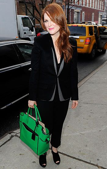 Kelly green bag + red hair
