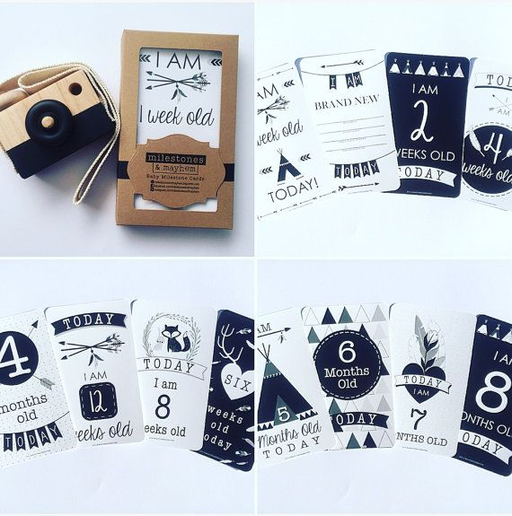Baby Milestone Cards par MilestonesandMayhem sur Etsy