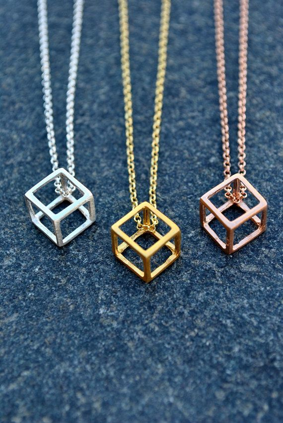 bb55cf3639d66 Geometric Necklace, Cube Necklace, Minimalist Necklace, Sterling ...