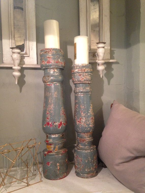 Antique painted wooden candle holder by PillowTalkEuropeanDe