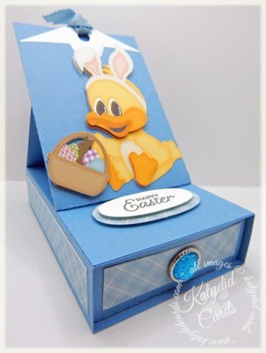Just in time for Easter (and Easter candy) is this cute Easel Sliding Drawer Card featuring Paper Crafting World's Baby ducky with Basket and Ears PNC.