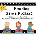 10 cheerful Reading Genre Posters to display in your classroom library, Focus Wall, or Big Question Board. $