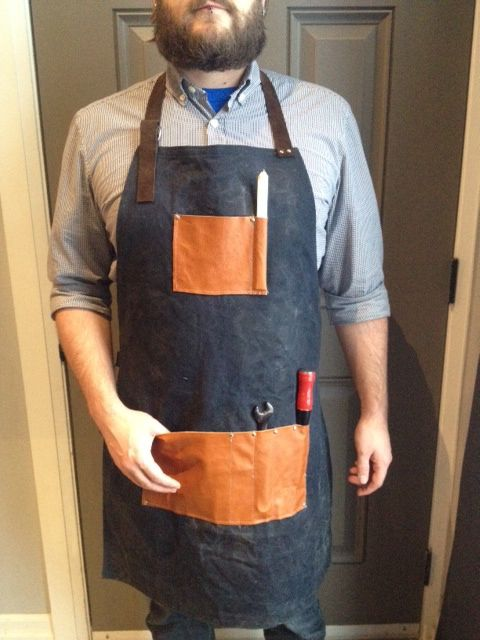 DIY Mens Leather and Waxed Canvas Apron  BEST PATTERN AND PICTURES!
