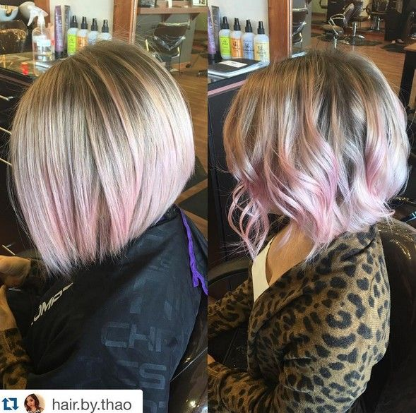 Blonde Short Lob Haircuts with a little pink Color