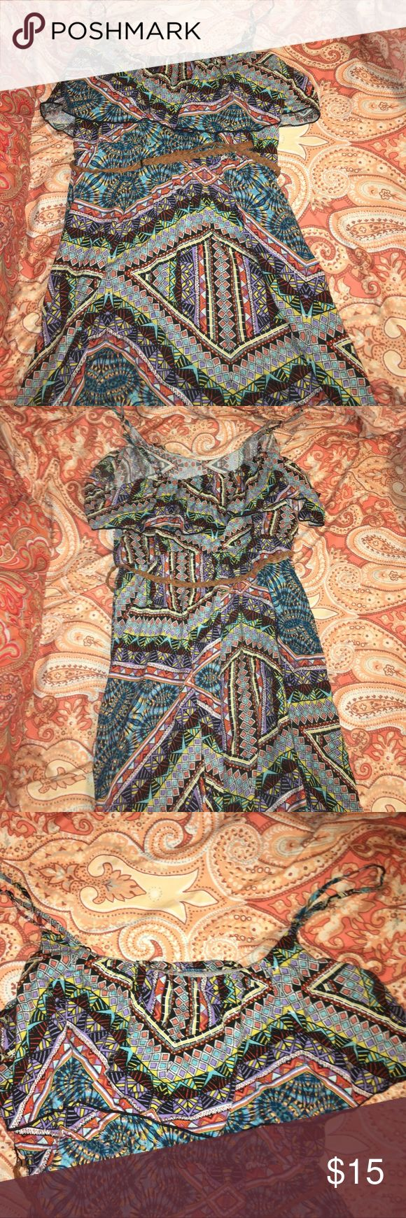 High low sundress. Strappy, Aztec print, high low sundress, braided brown belt, along with built in belt holders, very pretty flowy overlay at the top, Adjustable straps. Dresses High Low