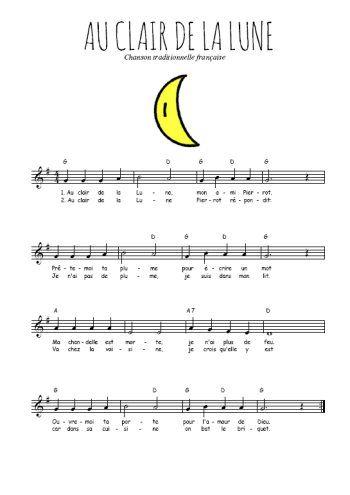 Téléchargez la partition gratuite de la chanson Au clair de la Lune, comptine traditionnelle française avec accords de guitare. Chanson traditionnelle