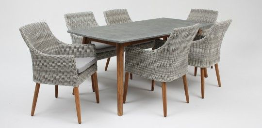 Copenhagen poly-cement table/Faro chair 7 piece timber dining setting natural white grey/royal stone grey