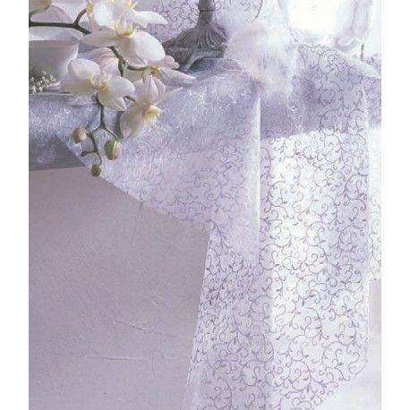 Chemin de table arabesque blanc or 10 M