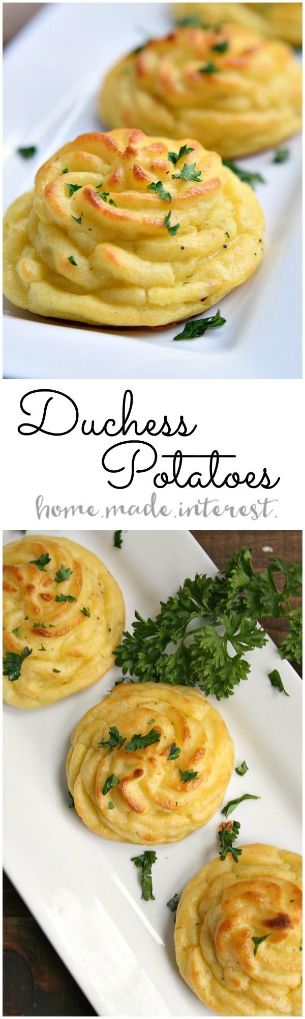 Duchess potatoes are an easy way to make mashed potatoes into something fancy. This duchess potatoes recipe will impress your guests this holiday season! ouramericankitchen AD