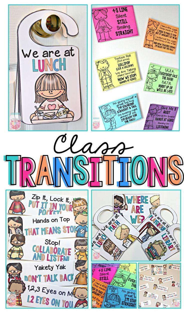 "This Class Transition pack includes ""where are we?"" door hangers, line up chants, and attention getter call backs. These are fun and easy tools to implement into your classroom management system to help with transition from one activity to another. By Proud to be Primary"