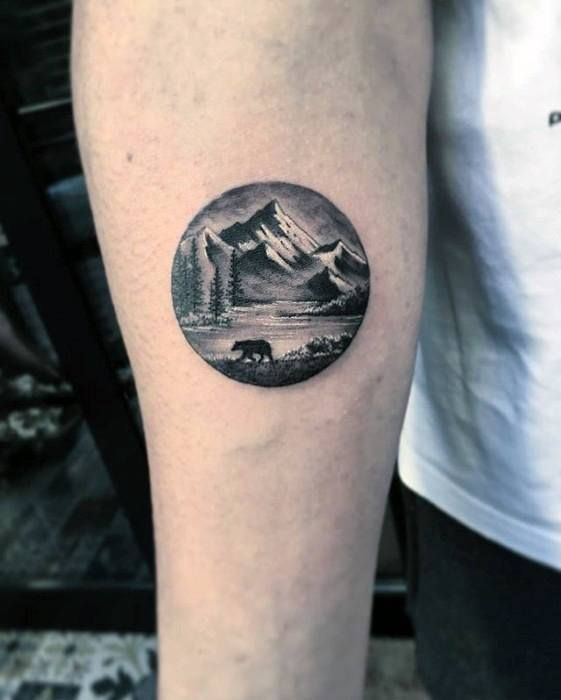 Bear By Mountains Mens Small Detailed Nature Inner Forearm Tattoo