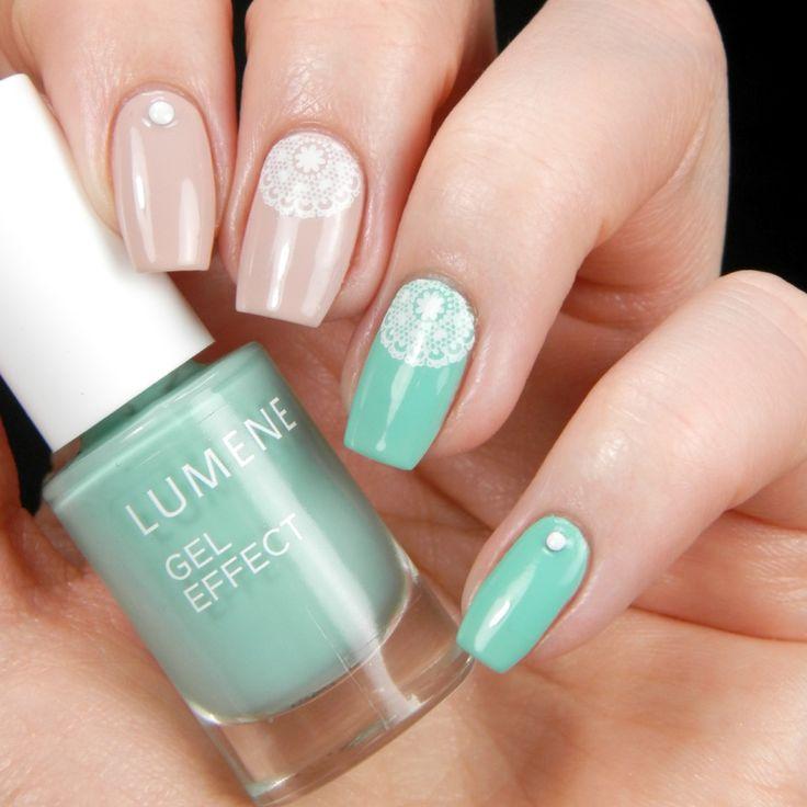 Shades of nude and mint by blogger Better nail day. #nailpolish #lumene