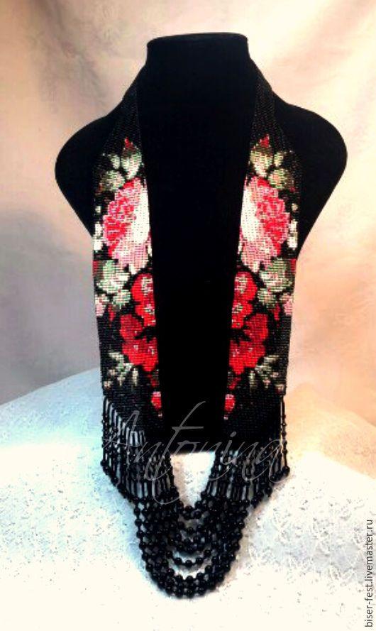 """Купить Гердан """"Ночной сад"""" - комбинированный, черный, красный, розы, цветы, гердан, бусы, бисер"""