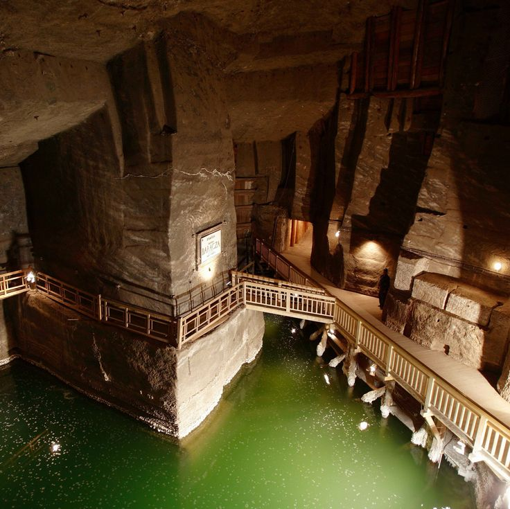 The Erazm Baracz Chamber and underground lake in the Wieliczka Salt Mine. Near Krakow, Poland.