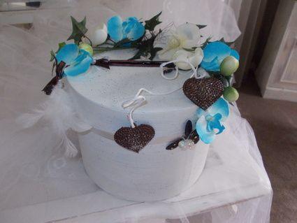 Urne de mariage chocolat turquoise