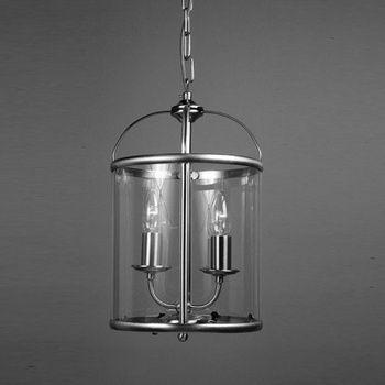 Orly Solid Brass 2 Light Contemporary Nickel Lantern