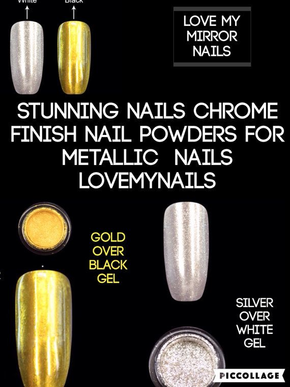 Mirror nails silver and gold set nails by Lovetobakeandcraft