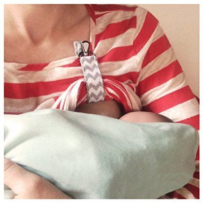 LatchPal Hands-free Nursing Clip - Breastfeed in comfort & increase mikflow , ideal accessory for your Nursing Cover, Silver Sparkle