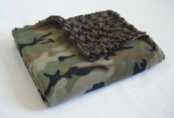 Camouflage Baby Blanket with Chocolate Brown by krystleandchloe