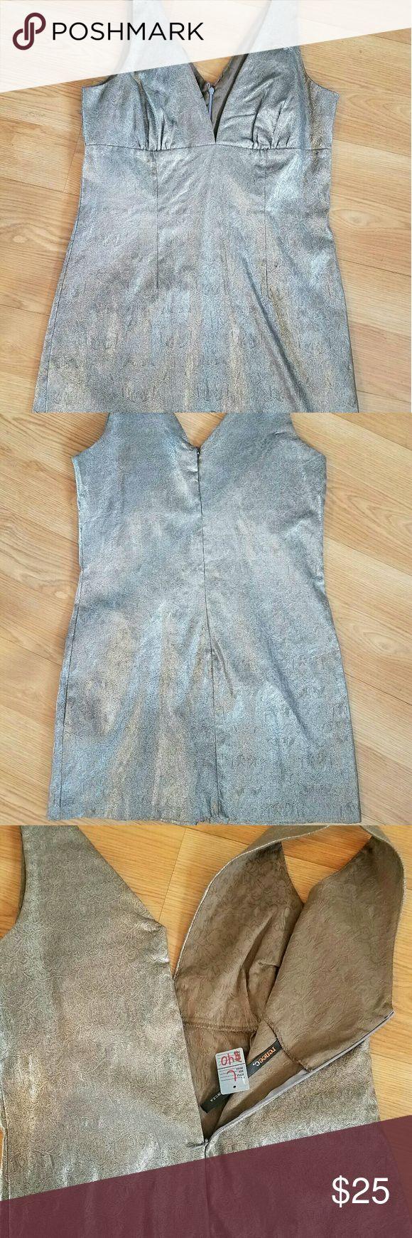 Metallic stretch tweed mini dress Silver metallic mini dress Renee c  Dresses Mini