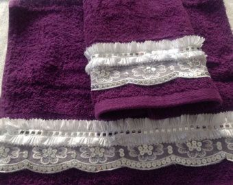 Plum Purple Hand Face Towel set of 2, Bathroom decor, decorative towels, Gift for Her, Housewarming Gift, Aunt, Daughter, Kitchen Towel set by blingscarves. Explore more products on http://blingscarves.etsy.com