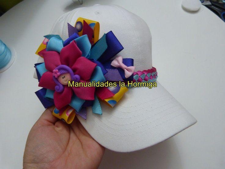 DIY como decorar gorras con moños y flores en cintas facilment.  No. 331...