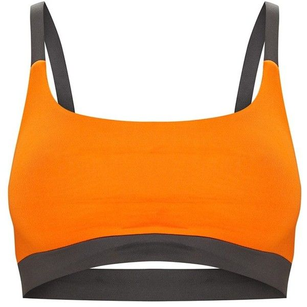 Charcoal Caged Back Contrast Sports Bra ($18) ❤ liked on Polyvore featuring activewear, sports bras, crop sports bra, sports bra, caged sports bra and orange sports bra