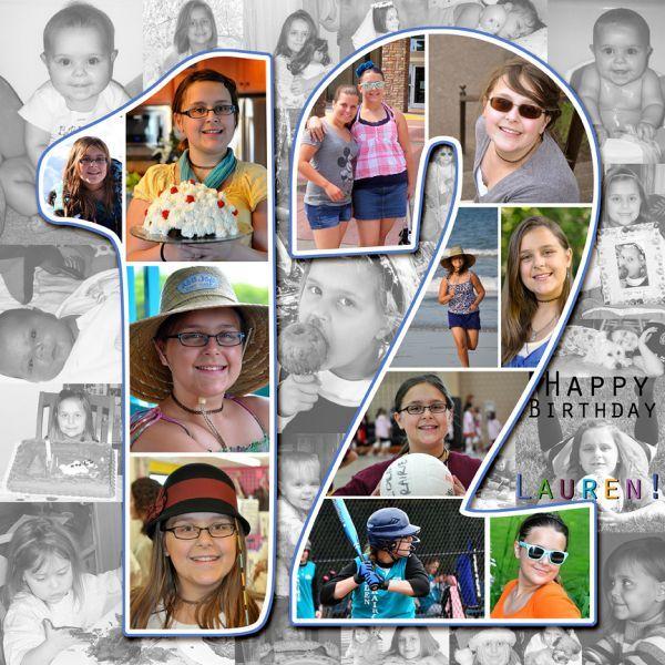 Multiple photo birthday layout
